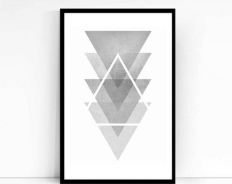 Triangle Geometric Poster Print, Abstract Print, Grey scale, Modern, Minimalist Poster, High Quality, Different Sizes, Minaminist Art, Gift