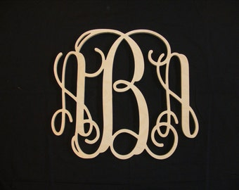 16 inch Vine connected monogram letter, Wooden wall letter, wedding, unfinished, gift