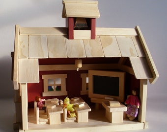 Made to order, Wooden Toy Handmade School House, Wood Toy Play School Set, Gender Neutral Learning, Kids Waldorf gift, Jacobs Wooden Toys
