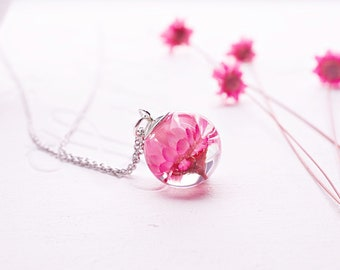 Real daisy necklace Real flower necklace Terrarium necklace Botanical necklace Pink daisy glass resin necklace Mother's day gift