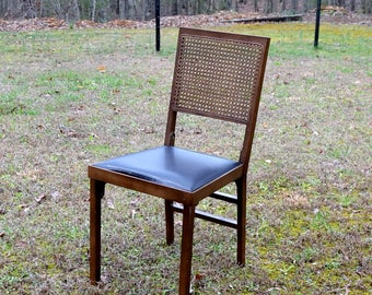 Vintage Leg O Matic Folding Chair Wood Woven Cane Back Black Vinyl Seat Camping Extra Seating PanchosPorch