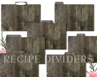 Rustic Wood Recipe Card Dividers for Kitchen Recipe Storage, Whimsical Tree, Printable Recipe Divider Cards