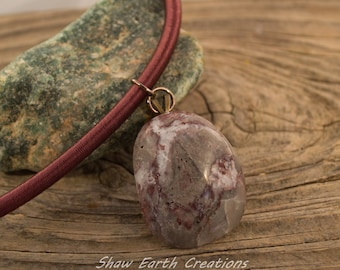 Burgundy Agate on Silk Necklace