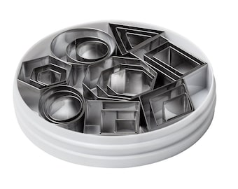 Geometric Shape Cookie or Craft Cutters 24 Count, Different Variety Of Geometric Shapes For Creating Dessert Cookie Shapes Or Jewelry Making