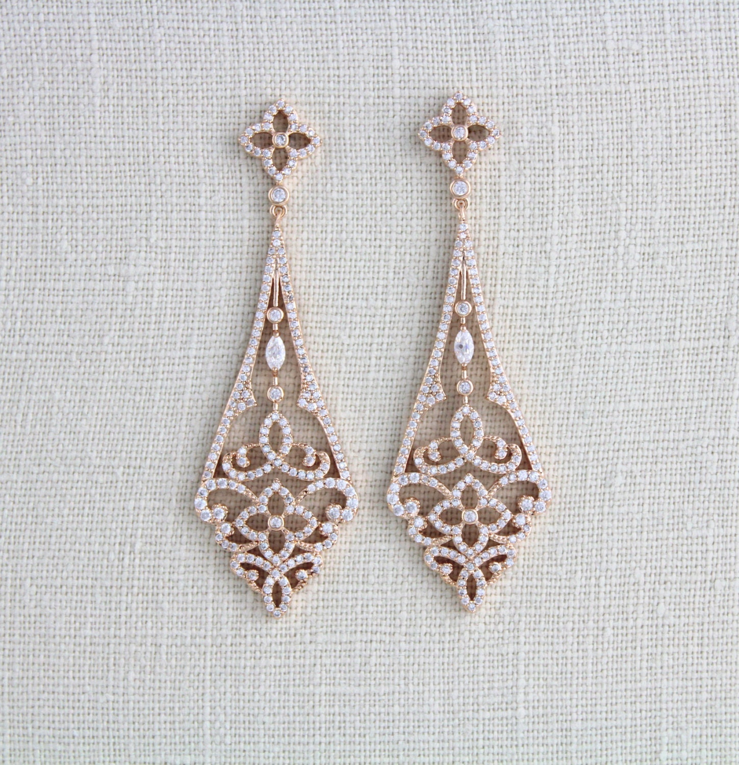 Rose gold earrings bridal earrings bridal jewelry rose gold zoom arubaitofo Choice Image