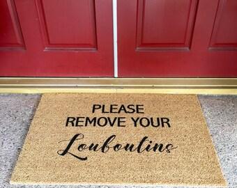 Please Remove Your Louboutins  Doormat 70cm x 40cm Real Brown Coir Loubs Designer Christmas