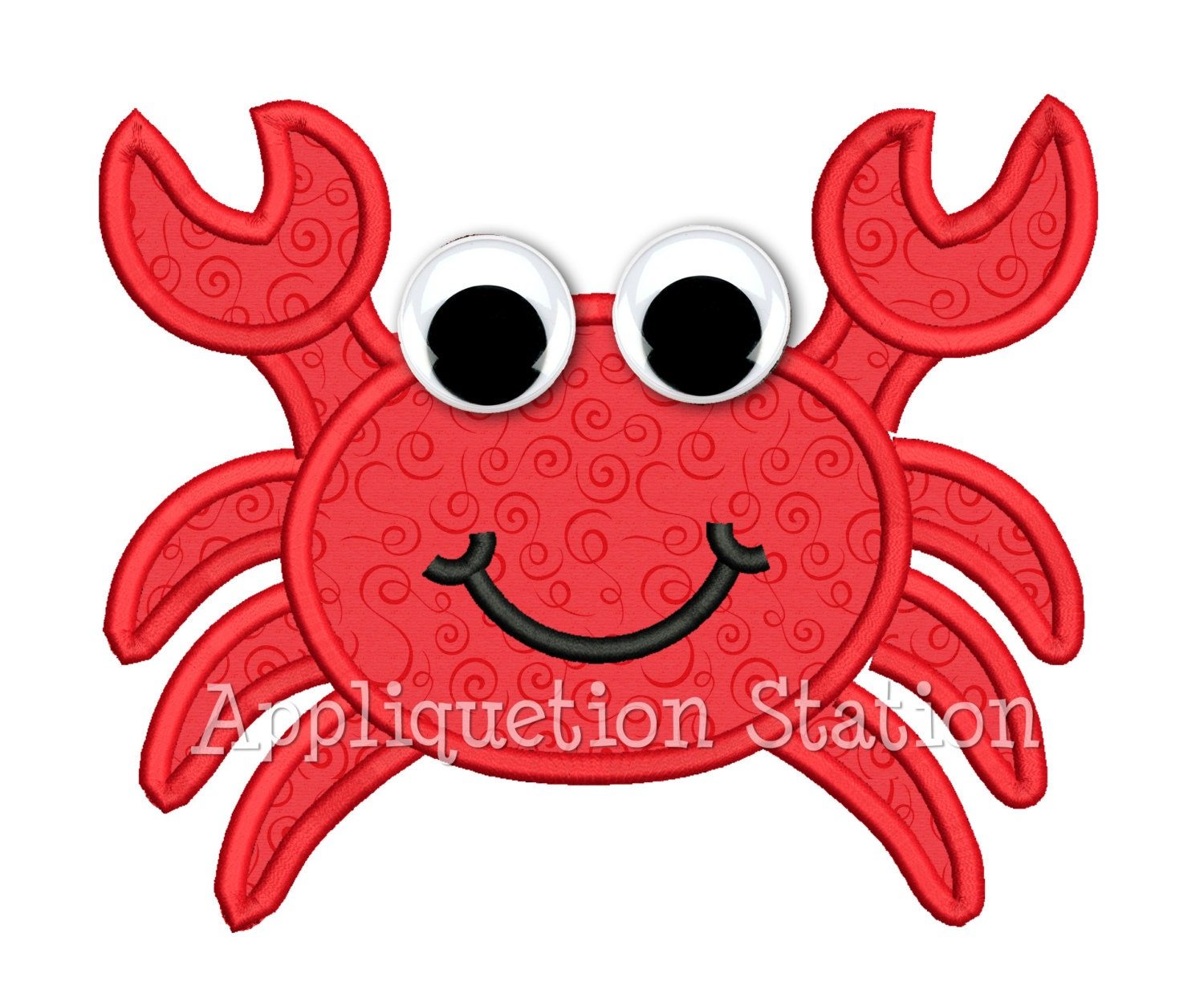 Crab optional googly eyes applique machine embroidery design zoom bankloansurffo Gallery