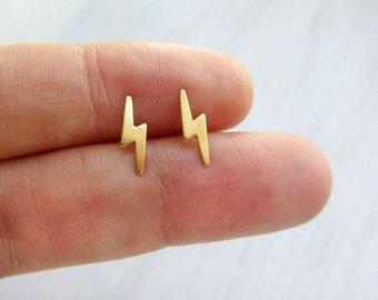 Lightning bolt earrings studs,tiny gold stud earrings,small gold stud earrings,sterling silver post