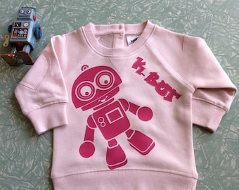 Baby Pink jumper with Kymmy's Corners cute K-Bot robot in Pink  size 00 3 - 6 months