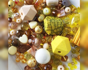 "Bead mix, ""Happy Days"" Yellow, Gold White and Bead Soup, a hand picked bead mix 60g"