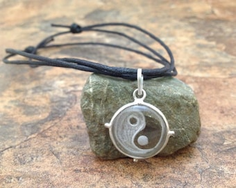 """Waxed Cotton Cord Crystal Quartz Hand Carved """"Yin Yang """" Charm Pendant Symbol Necklace with Sliding Knots"""