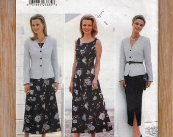 "1990's Feminine Dress and Skirt- Lined Jacket - Size 12-14-16 Bust 34-36-38"" Waist 26.5-28-30"" - Sewing Pattern Butterick 4508 UNCUT"