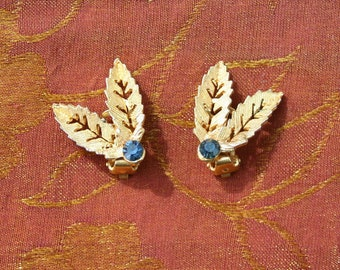 Vintage 1960s - Gold-tone & Blue Diamanté Double Leaf Design Clip-on Earrings