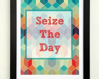 Seize The Day Printable Motivational Wall Art Inspirational Printable Geometric Printable Carpe Diem Gallery Wall Art 8x10 Instant Download