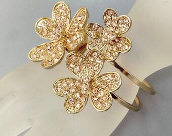 Pink Rhinestone Hinged Cuff Bracelet