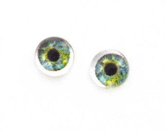 6mm Light Green Doll Glass Eyes Cabochons - Tiny Glass Eyes for Jewelry or Doll Making - Set of 2