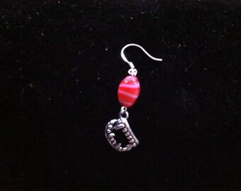 Red Beaded Vampire Teeth Earring for Men, Men's Jewelry, Halloween Earring for Men, Spooky Jewelry, Red and White Spiral Bead