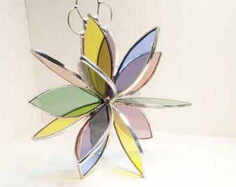 Stained glass Flower Twirl garden art sculpture hanging suncatcher handcrafted by Bello Glass. Gift for gardener, bridesmaid, Mom, birthdays