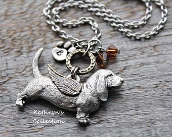 Basset Hound Angel Necklace, Basset Hound Jewelry, Basset Hound Mom,Pet Memorial Jewelry, Basset Hound Sympathy