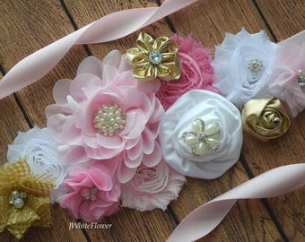 Pink gold and white  Sash , flower Belt, maternity sash, wedding sash, flower girl sash, maternity sash belt