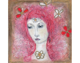 Pink Fairy - Folk Art  Angel Print from Painting (7 x 7  inches PRINT) by FLOR LARIOS