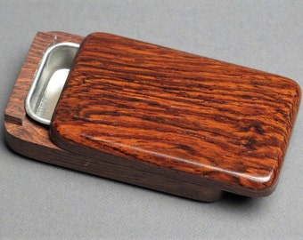 Wood and Steel Sliding Pill Box, Exotic Woods