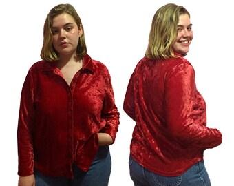 red orange crushed velvet button down long sleeve shirt top, XL, XXL plus size