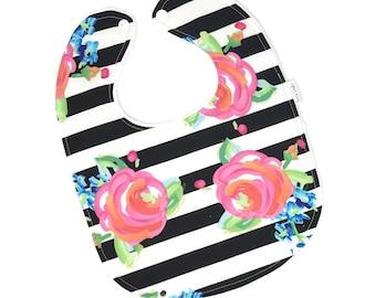 Personalized Baby Bib - Floral Baby Bib - Floral and Stripe Baby Bib - Modern Baby Bib - Pink Baby Bib - White Minky Fabric- Handmade