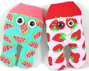 SALE* Strawberry Egg Head SARI - Free Worldwide Shipping - Strawberries, pink, red, green, soft, sock toy plush.