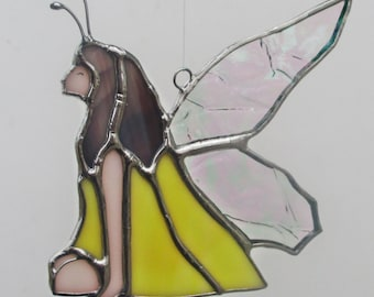 Yellow Fairy Stained Glass Suncatcher Home Decor