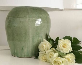Pottery table lamp etsy table lamp the big green finnish hand made pottery table lamp with shiny mozeypictures Images
