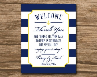 Welcome Bag Tag, Wedding Favor Tags, Hang Tags, Thank You Tags - PRINTABLE file - welcome, nautical, navy and yellow or any colors - 466