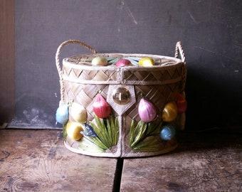 Vintage Tropical Straw Bucket Purse with Raffia Tulip Flowers - Great Summer Wedding Bag!