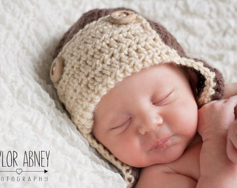 Crochet Aviator Hat, Pilot Hat, Baby Aviator Hat, Baby Pilot Hat, Aviator Beanie, Pilot Beanie, Baby Pilot Cap, Newborn Pilot Hat
