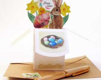 Easter Cards, Pop Up Cards Easter, Easter Decorations, 3D Cards, Handmade Cards, Gift Card Holder, Realtor Card, Easter Centerpiece