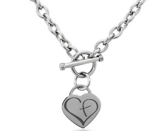 Stainless Steel Cross My Heart Heart Charm, Necklace / Silver / Rose / Gold