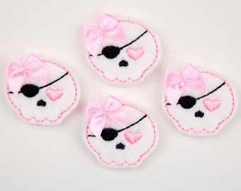 SWEET PIRATE - Embroidered Felt Embellishments / Appliques - White & Pink  (Qnty of 4) SCF0175
