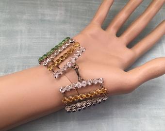 Vintage Rhinestone Bracelet, Art Deco Bracelet, 1920's Bracelet, Diamanté Bracelet, Antique Rhinestones Bracelet