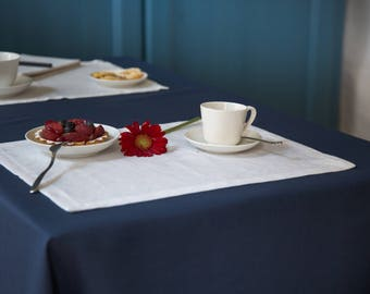 Placemats Breakfast -Set for 2- White Natural Linen  -Tea Towels Color the Breakfast- Modern Kitchen