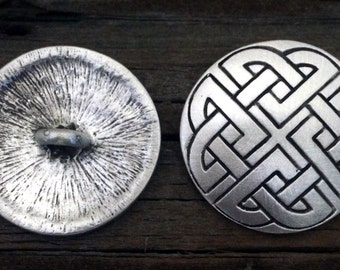 Celtic Shield Knot Pewter Shank Buttons 1 1/4 Inch (32 mm)