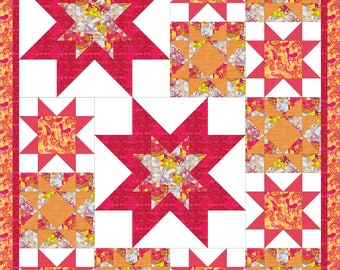 Modern, throw quilt PDF pattern - All About the Stars