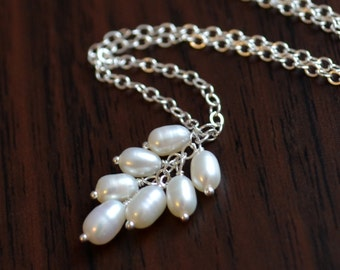 White Pearl Necklace, Sterling Silver, Real Freshwater Pearl Cluster, Dainty and Delicate, Bridesmaid Jewelry, Free Shipping