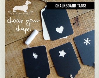 Chalky. Reusable Chalkboard Gift Tags (Set of 12) -- (Black, Ivory, Rustic, Bridal Shower, Barn Wedding Favor Tags, Baby Shower, Fun, Chalk)
