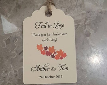 Personalized Favor Tags 2.5Lx1.8w'', Wedding tags, Thank You tags, Favor tags, Gift tags, Bridal Shower Favor Tags, fall wedding favor tag