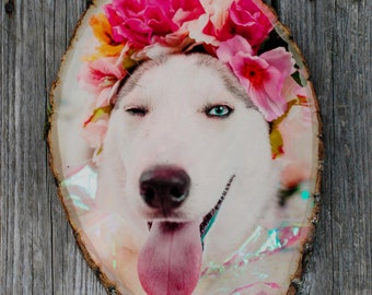 Large Photo on Wood Slice, Pet loss gift, Photo on Wood, pet remembrance, pet sympathy, dog loss, cat loss,  personalized pet gift, memorial