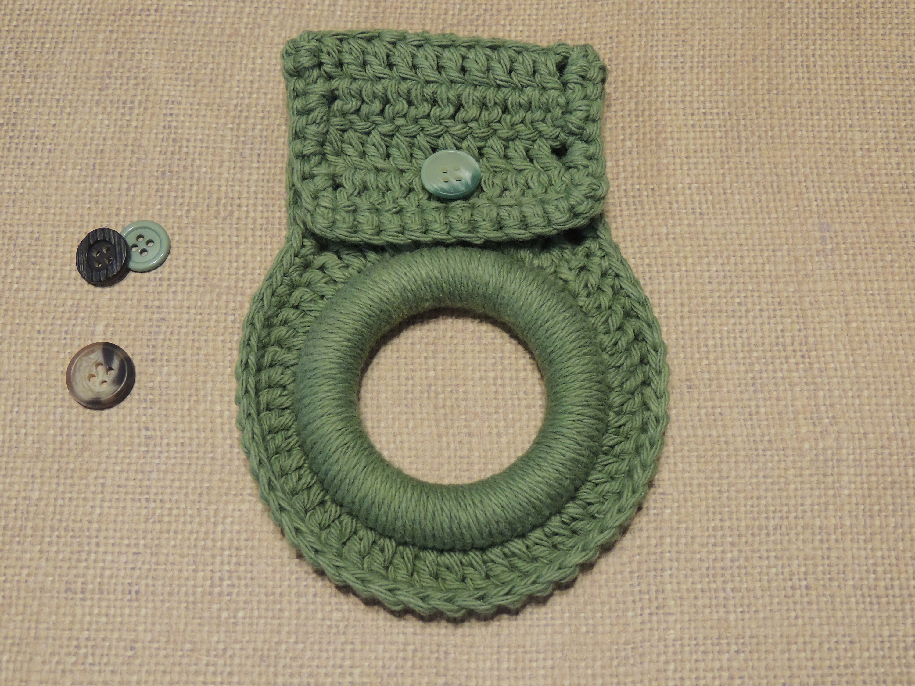 Towel Holder Ring Solid Colors Crochet Washcloth Dishcloth