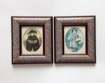 Set of 2 Vintage Prints, Framed Prints