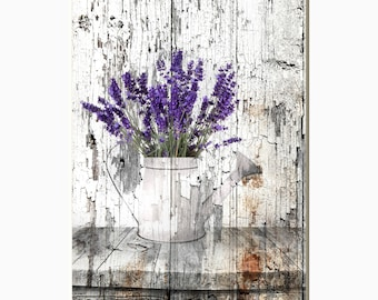 Rustic Home Decor, Purple Flowers, Rustic Modern Farmhouse Wall Art Matted Wall Picture