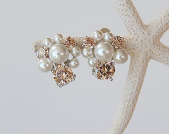 Champagne Blossoms Diamante Pearl Bridal Earrings Wedding Earrings Cocktail Earrings Corporate Gifts