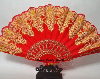Hand Fan, Spanish folding fan, Red and Golden, Dancing fan